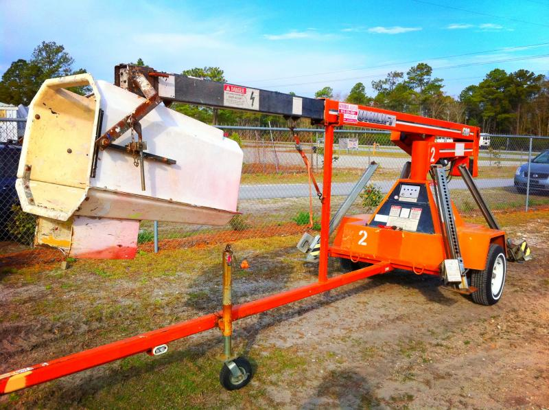 towable man lift 35' boom 28445 28443 28540 holly ridge NC tool rental